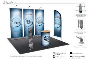 Stand enrouleurs textile 9 m²